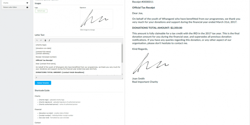 xero donation receipts donation manager